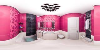 3d illustratie van een heldere badkamers in een Art Deco-stijlflat royalty-vrije illustratie