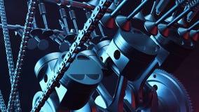 3d illustratie van een interne verbrandingsmotor Motoronderdelen, trapas, zuigers, het systeem van de brandstoflevering V6 Motor Stock Foto's