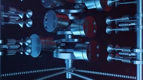 3d illustratie van een interne verbrandingsmotor Motoronderdelen, trapas, zuigers, het systeem van de brandstoflevering V6 Motor Stock Afbeeldingen