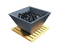 3d illustratie van een kar, karretje met zwarte steenkool royalty-vrije illustratie