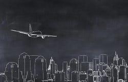 3D illustratie van een stad en een vliegtuig Royalty-vrije Stock Afbeeldingen