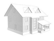 3d illustratie van een two-storey plattelandshuisjehuis Lineaire en toon- tekening Muren van blokken Royalty-vrije Stock Afbeeldingen