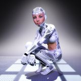 3D Illustratie van een vrouwelijke Cyborg royalty-vrije illustratie