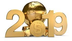 3D illustratie van 2019 en de Gouden aarde met ons dollarmuntstukken Het idee voor de kalender, een symbool van de ontwikkeling stock illustratie