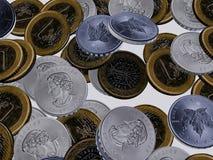 3D illustratie van Euro muntstukken en omgekeerde zilveren dollars Royalty-vrije Stock Afbeeldingen