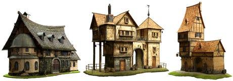 3D illustratie van fantasiegebouwen Stock Foto's