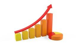3d illustratie van financiële grafiek Royalty-vrije Stock Foto's