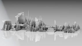 3D illustratie van futuristische moderne stad Stock Fotografie