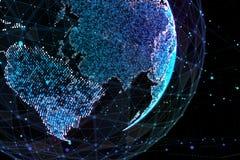 3d illustratie van gedetailleerde virtuele aarde Technologische digitale bolwereld Royalty-vrije Stock Afbeeldingen