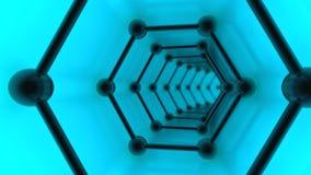 3D illustratie van graphenenetwerk, tunnel van molecules op graphene, het beeld van een suprageleider op een blauwe achtergrond H stock illustratie