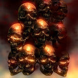 3D Illustratie van griezelige Schedels Stock Afbeelding