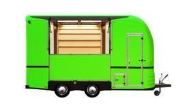 3D illustratie van groene voedselvrachtwagen Stock Fotografie