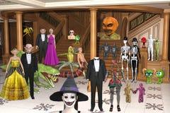 3D Illustratie van Halloween-Schepselen bij Halloween-partij royalty-vrije illustratie