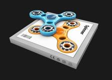 3d Illustratie van Hand friemelt spinnersstuk speelgoed in de doos, geïsoleerde Zwarte Stock Foto's