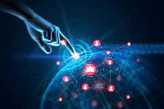 3d illustratie van het gebaar van de handaanraking op futuristische technologie Stock Afbeeldingen