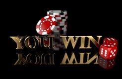 3D illustratie van het gokken van spaanders en dobbelt op zwarte achtergrond U WINT tekst royalty-vrije illustratie