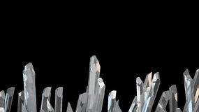 3D illustratie van het macromineraal van de kristalsteen Kwartskristallen op zwarte achtergrond Stock Foto