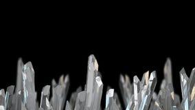 3D illustratie van het macromineraal van de kristalsteen Kwartskristallen op zwarte achtergrond Royalty-vrije Stock Foto's