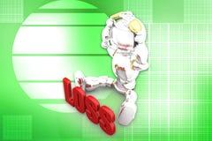 3d illustratie van het robotverlies Stock Foto's