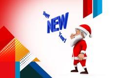 3d illustratie van het santa gelukkige nieuwe jaar Royalty-vrije Stock Afbeeldingen