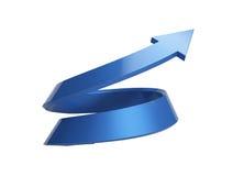 3d illustratie van het spiraalvormige pijl toenemen Stock Foto