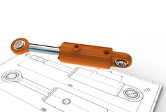 3d illustratie van hydraulische cilinder Royalty-vrije Stock Afbeeldingen