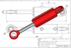 3d illustratie van hydraulische cilinder Royalty-vrije Stock Afbeelding