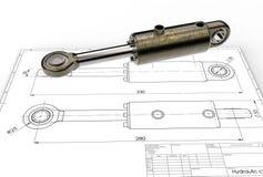 3d illustratie van hydraulische cilinder Royalty-vrije Stock Foto