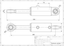 3d illustratie van hydraulische cilinder Royalty-vrije Stock Fotografie