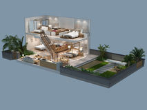 3d illustratie van isometrische mening van een villa Stock Fotografie