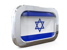 3D illustratie van Israel Button Flag Stock Foto's