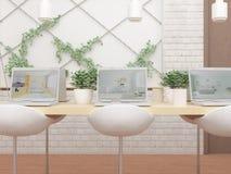 3D illustratie van kabinet met computers op lijst, groene installaties en stoelen stock illustratie