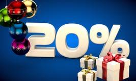 3d illustratie van Kerstmisverkoop 20 percentenkorting Royalty-vrije Stock Afbeeldingen