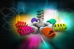 3d illustratie van kleurrijke gloeilampen Stock Fotografie