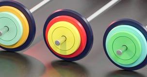 3d illustratie van kleurrijke gymnastiek barbells Royalty-vrije Stock Foto