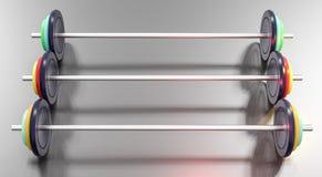 3d illustratie van kleurrijke gymnastiek barbells Stock Fotografie