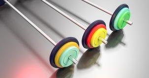3d illustratie van kleurrijke gymnastiek barbells Stock Afbeeldingen