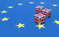 3D ILLUSTRATIE van langs gemaakt brexitconcept instabiliteit en het gokken, dobbelt van Britse vlag op de vlag van Europa stock illustratie