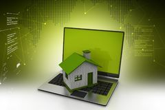 3d illustratie van laptop met huis Stock Illustratie