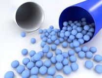 3D illustratie van medische pil met kleine capsules Stock Foto's