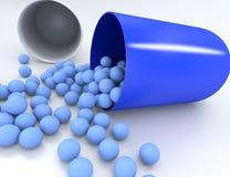 3D illustratie van medische pil met kleine capsules Stock Afbeelding