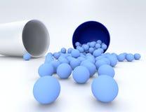 3D illustratie van medische pil met kleine capsules Stock Foto