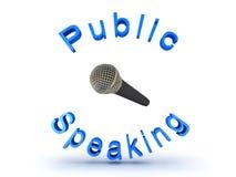 3D illustratie van microfoon en openbaar het spreken teken royalty-vrije illustratie