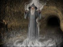 3D Illustratie van Middeleeuwse Tovenaar in Hol met Mist stock foto's