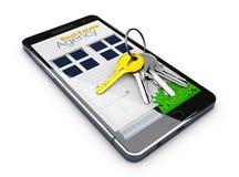 3d Illustratie van Mobiel app malplaatje, online verkoop of huurconcept met sleutels op het scherm Stock Foto's