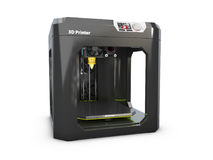 3d Illustratie van moderne professionele plastic die 3D printer op witte achtergrond wordt geïsoleerd Royalty-vrije Stock Afbeeldingen