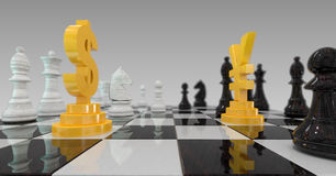 3d illustratie van muntoorlog, dollar tegenover yuans op schaakbord Stock Foto