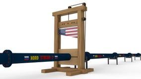 3D illustratie van Nord-stroom 2 aardgasleiding, in de guillotine Het idee van internationale sancties, economische oorlog en stock illustratie