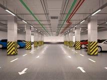 3d illustratie van ondergronds parkeren royalty-vrije illustratie