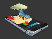 3d Illustratie van online het boeken van mobiele app modelshowcase, Zonparaplu, stoel en speelgoed op de slimme geïsoleerde telef Stock Afbeeldingen